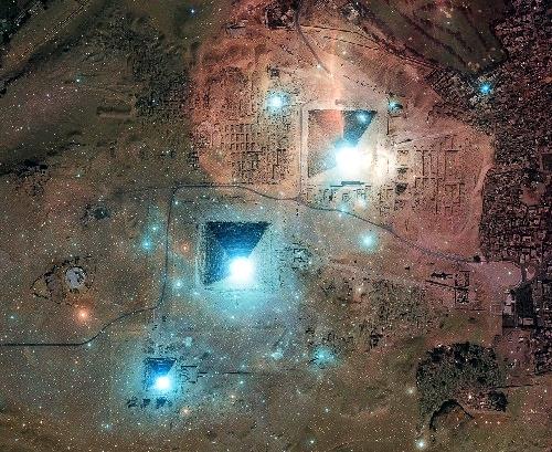 расположение пирамид Гизы