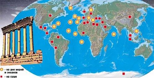 Карта мест на Земле,