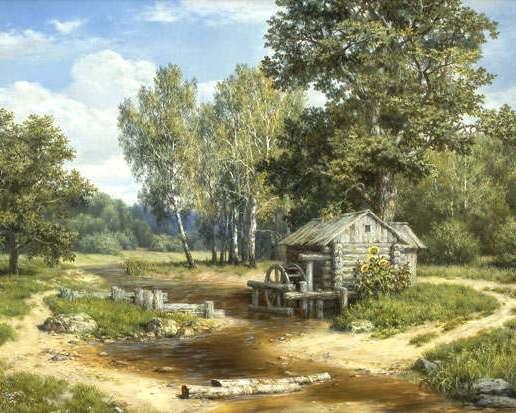 водяная мельница на ручье.