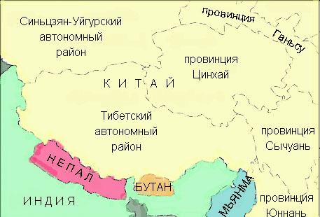 тибет где находится какая страна карта магазинов