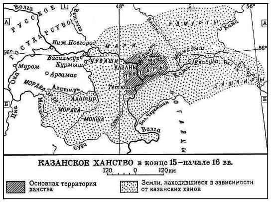 Карта Казанского ханства в